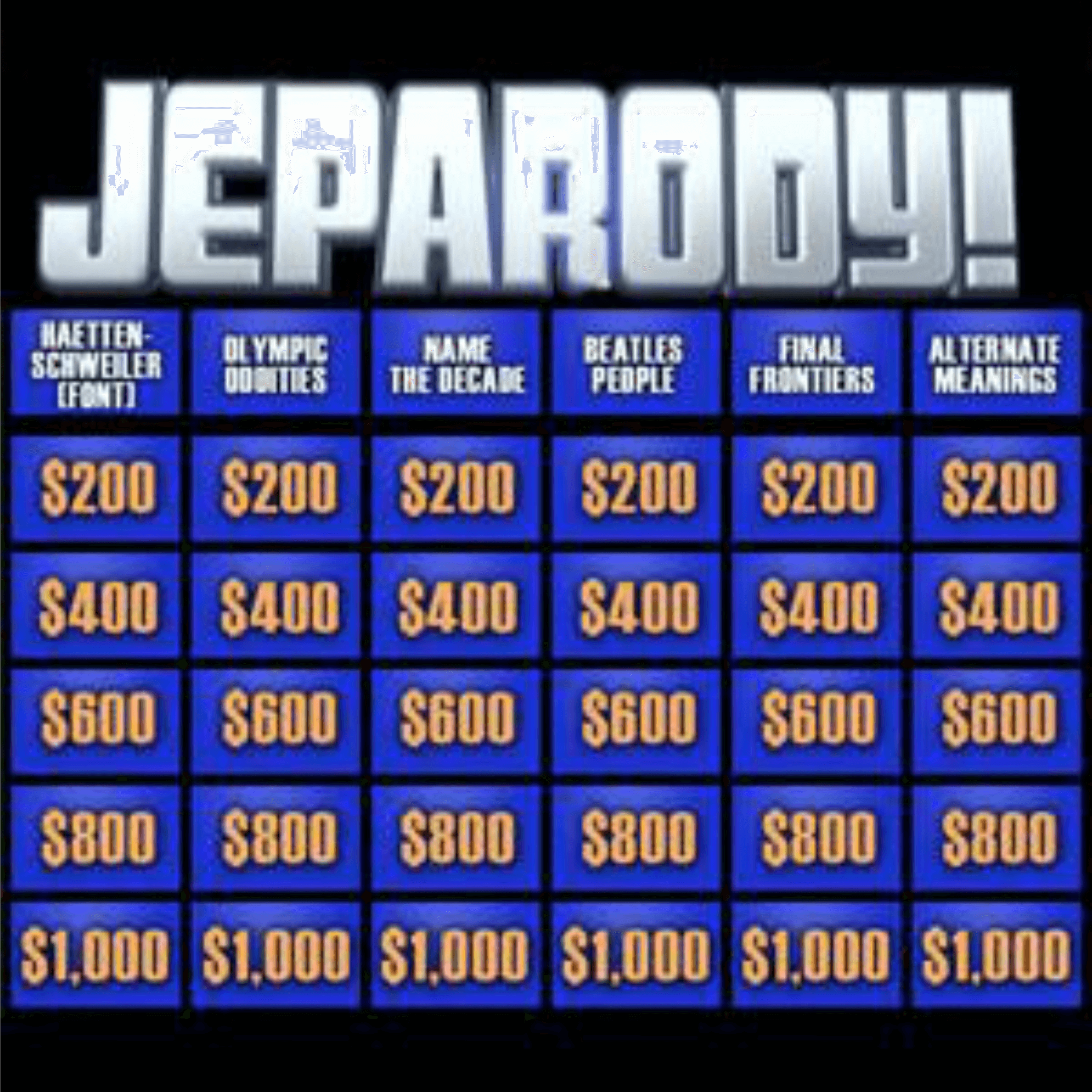 Book JEPARODY Game Show